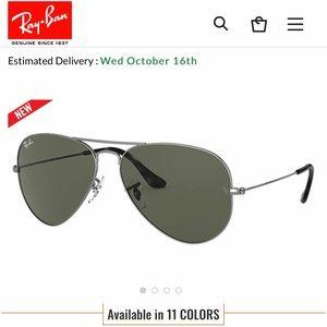 NEW RayBan silver aviators sunglasses